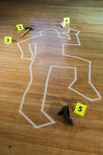 Outline of a crime scene, with different types of evidence.