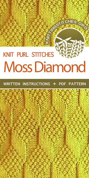 Knit Purl - Reversible Knitting Stitches. Moss Diamond and Lozenge stitch. #knittingstitches #knitpurl