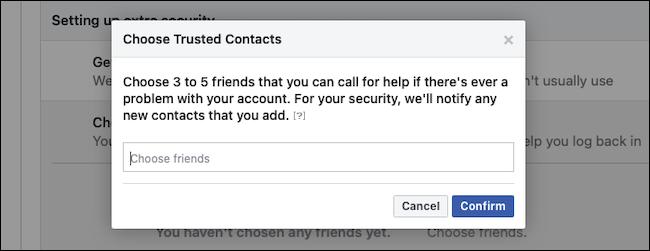 قم بتأكيد جهات اتصال Facebook الموثوقة