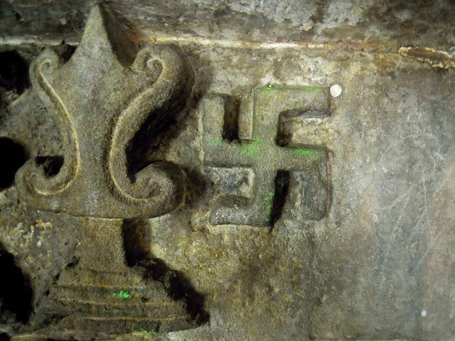 A Swastika symbol, Khandagiri caves, Bhubaneshwar