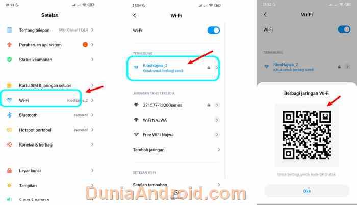 menu berbagi sandi WiFi Xiaomi Redmi Note 7
