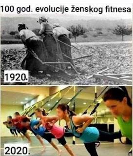 Smešna slika: 100 godina evolucije ženskog fitnesa