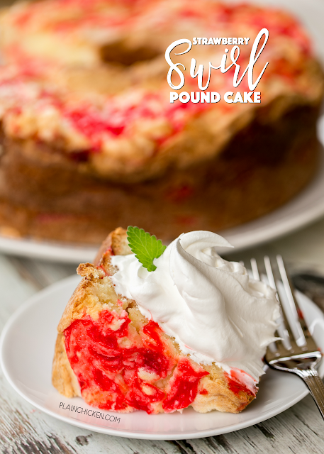 Strawberry Swirl Pound Cake - seriously delicious!!! Butter, sugar, cream cheese, eggs, flour, almond extract, vanilla extract and strawberry glaze. Can make several days in advance and store in an air-tight container or freeze for later. Everyone LOVED this pound cake recipe!!