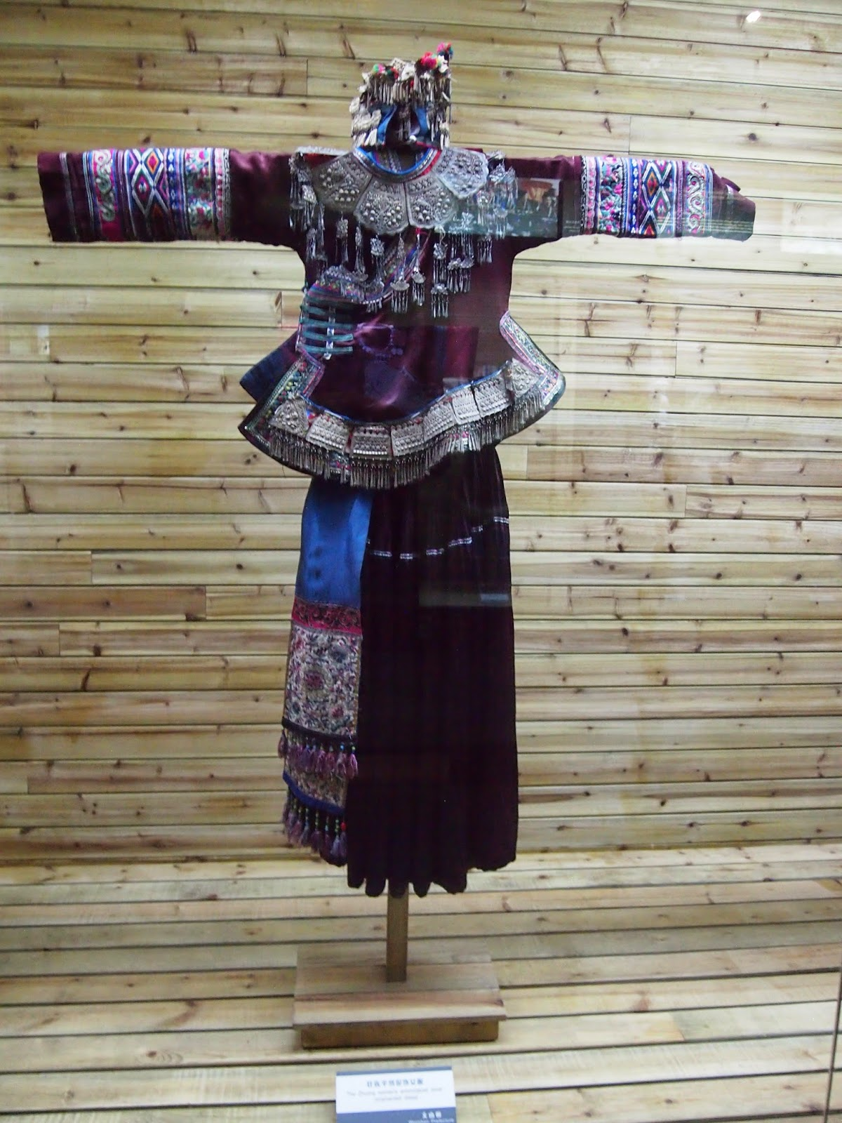 an ethnic minority traditional outfit from the Yunnan Nationalities Museum in Kunming
