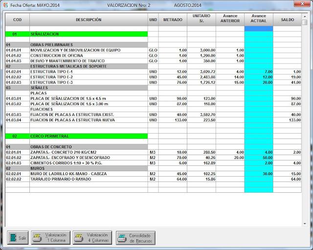 Cálculo de valorizaciones