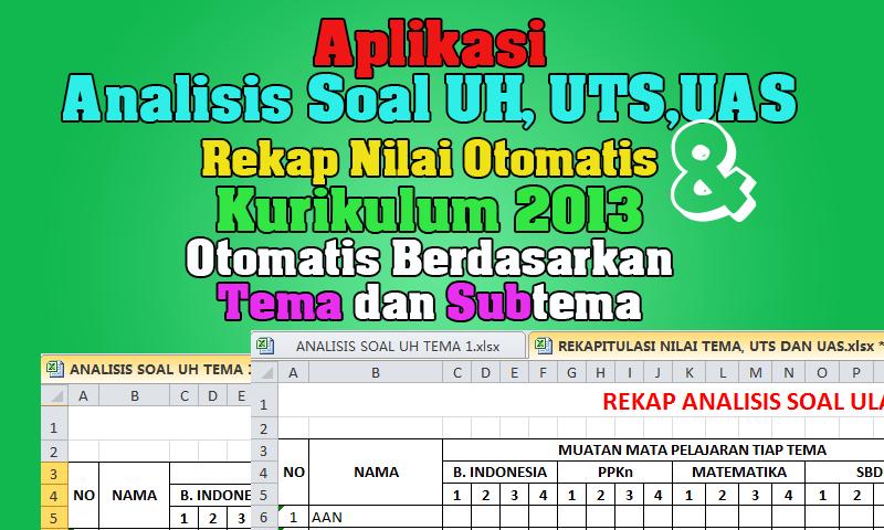 Aplikasi Analisis Soal UH, UTS,UAS Rekap Nilai Kurikulum 2013 Otomatis  Otomatis Berdasarkan Tema dan Subtema