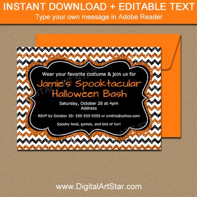printable Halloween invitation with orange and black glitter chevron