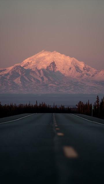 Wallpaper Distant Snow Mountain Road Landscape
