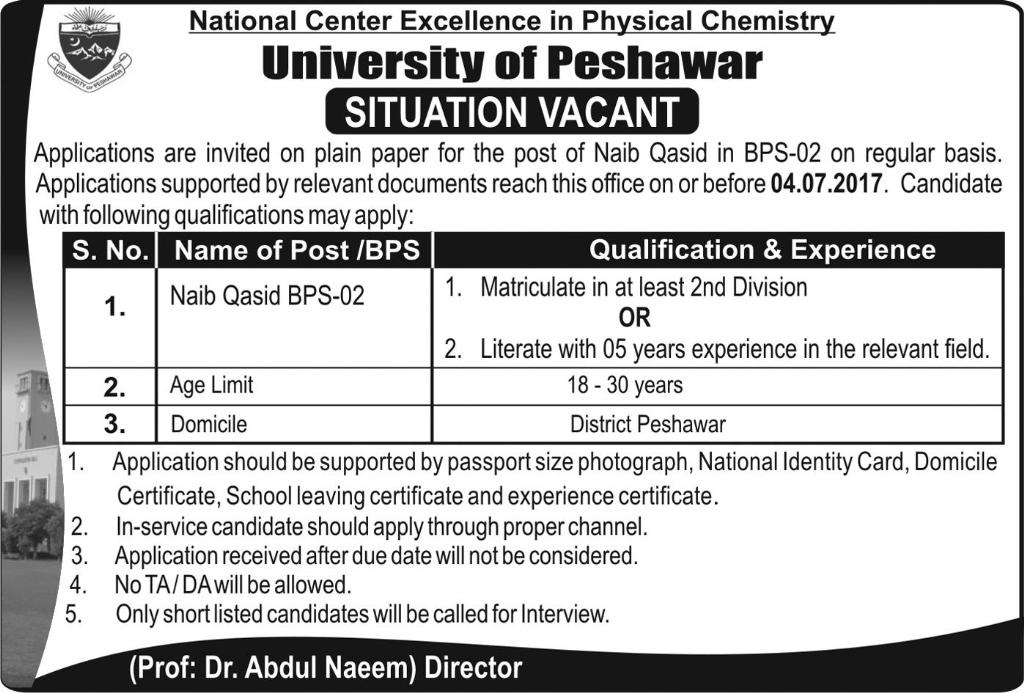 Naib Qasid Jobs in University Of Peshawar 17th June 2017