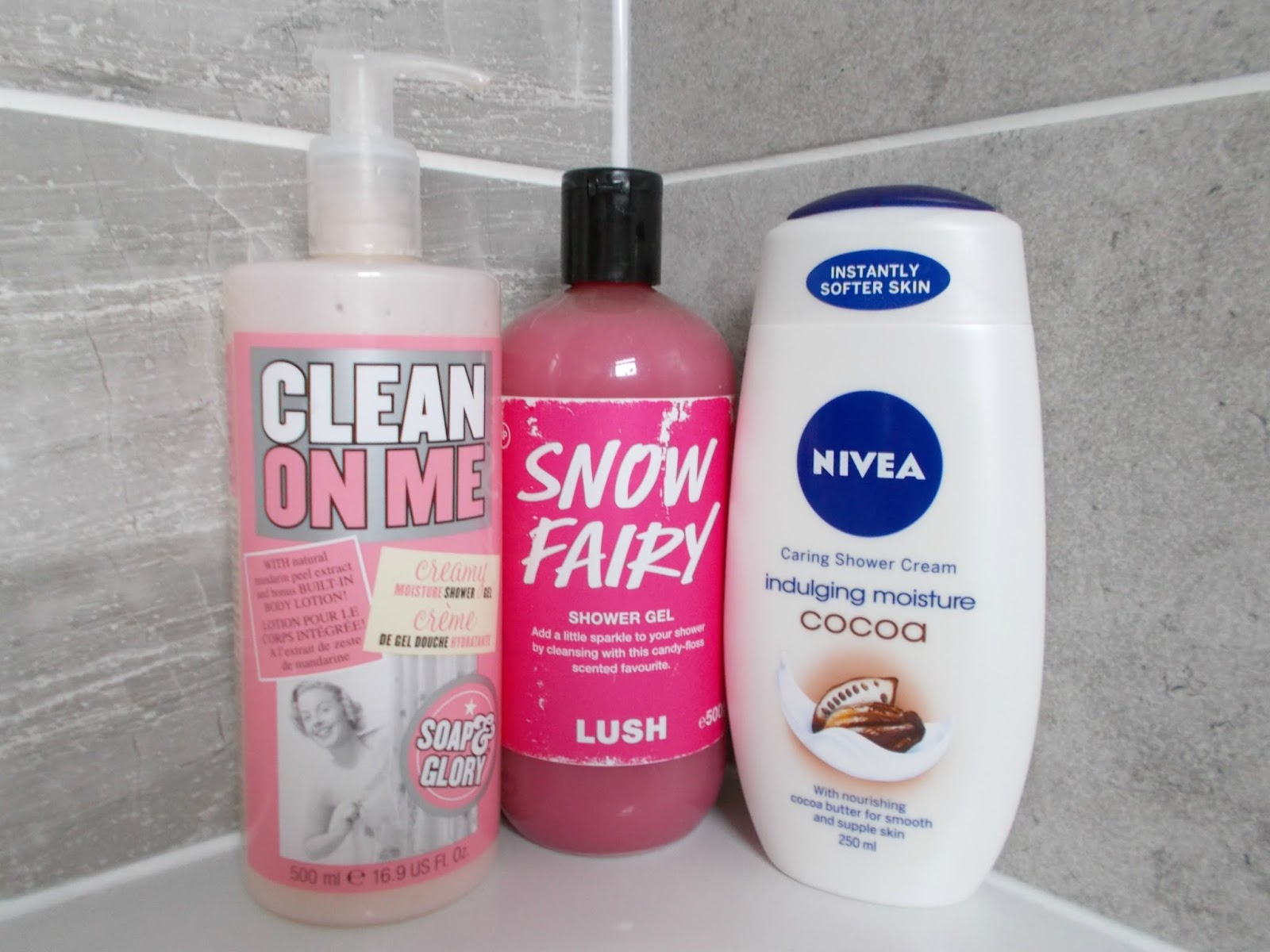 shower gel soap and glory clean on me lush snow fairy nivea indulging moisture cocoa review