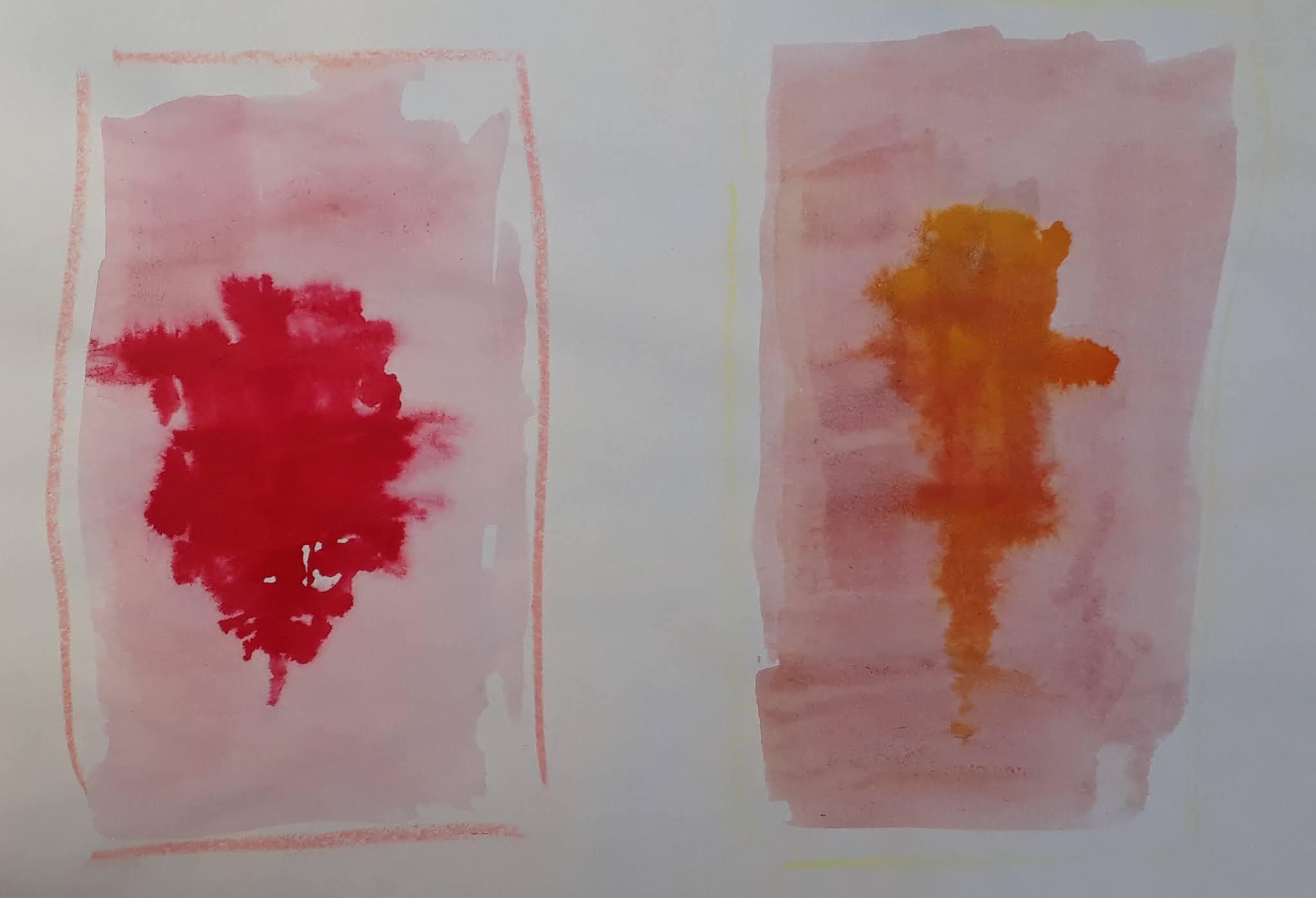 Punajuuri ja porkkana vesiväreillä