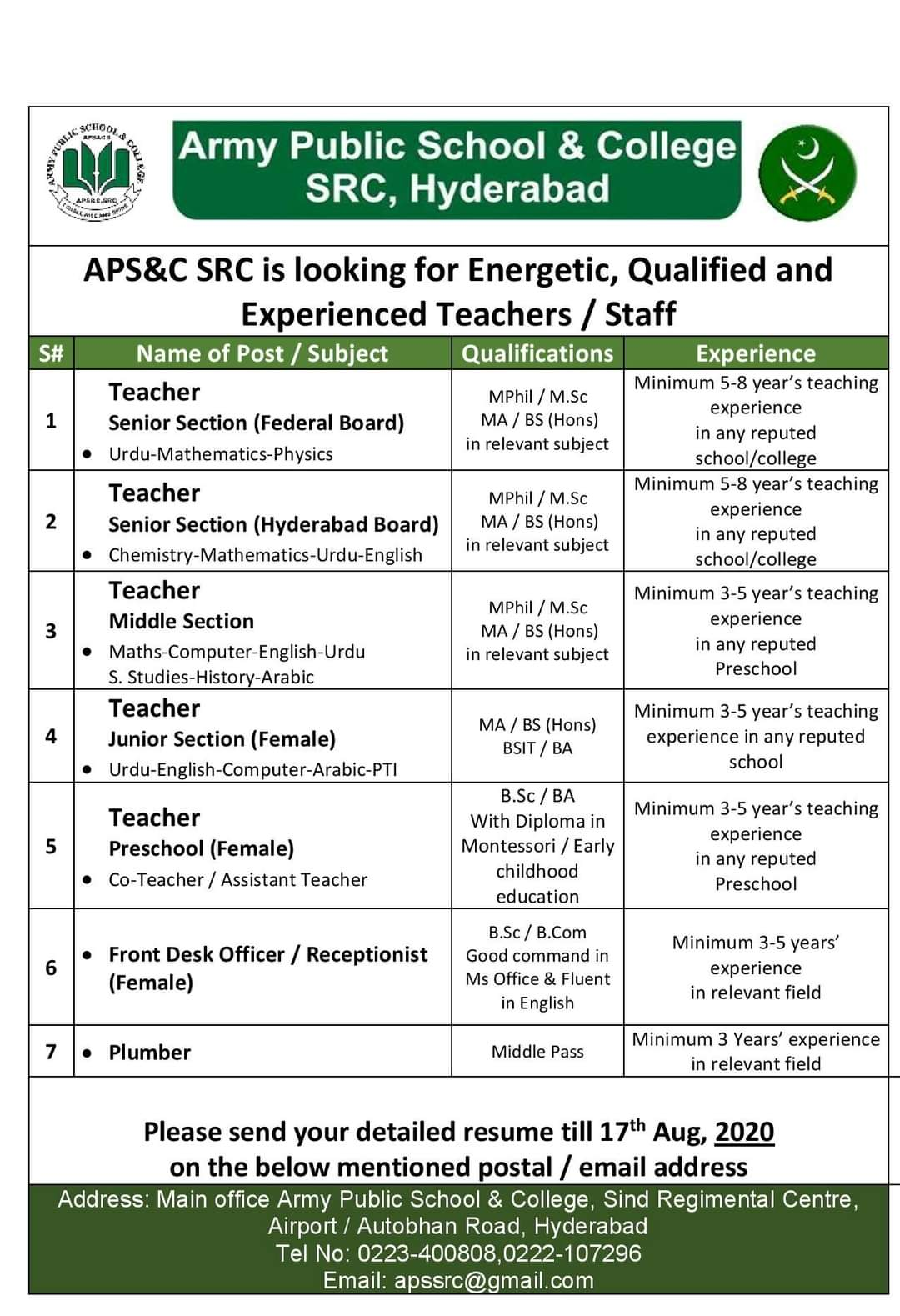 Army Public School & College SRC Hyderabad Jobs 2020 | Teaching Jobs