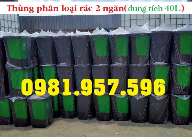 Thùng rác phân loại xanh đen, thùng rác đạp chân 2 ngăn, thùng rác đạp chân
