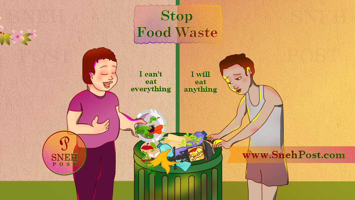 Stop Food Waste Day cartoon illustration of a boy throwing food to dustbin while saying after overeating, I can't eat everything; another poor hungry boy child searching food in dustbin and saying I will eat anything. Best drawing depicting rich vs poor psychology!
