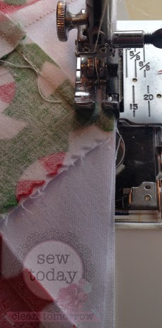 Sew with the table runner on top