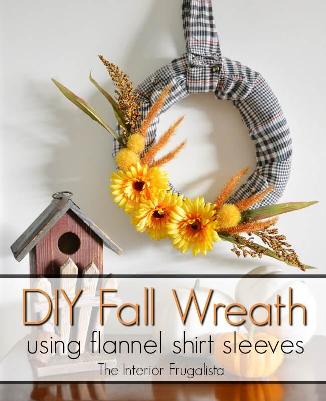 How to make an easy fall wreath with recycled flannel shirt sleeves and dollar store fall floral picks. Even the shirt collar is a wreath hanger! #fallwreathdiy #flannelcraft