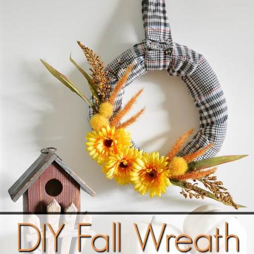Flannel Shirt Sleeve Fall Wreath