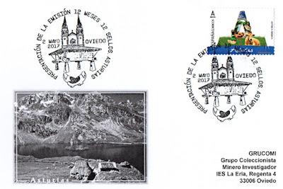 Tarjeta con el matasellos de presentación del sello de Asturias