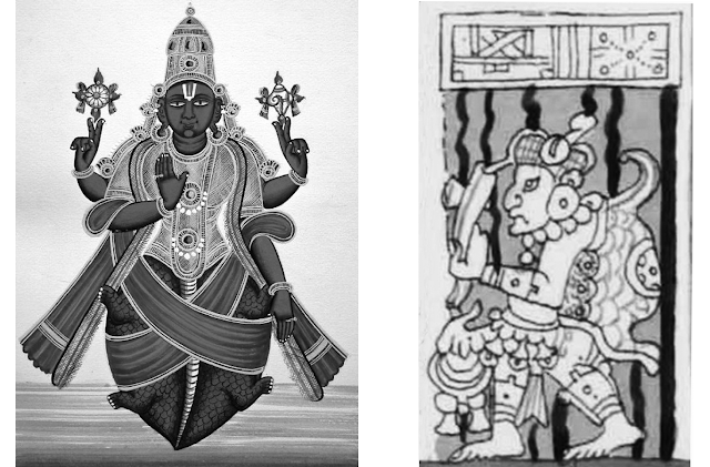 Vishnu as Kurma and Turtle-Man or God from the Dresden Codex.