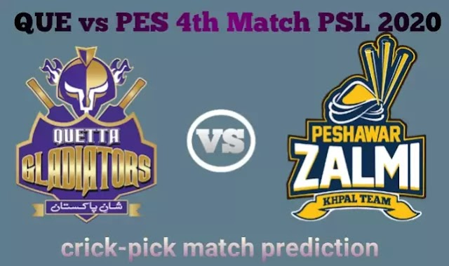 Today Match Prediction-QUE vs PES 4th Match PSL 2020-Who Will Win