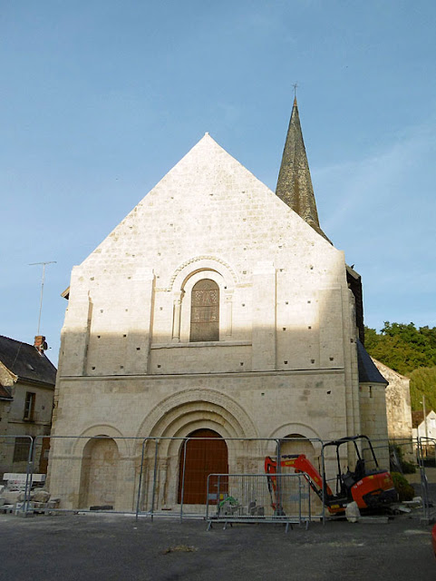 The church at La Celle-Guenand undergoing restoration. Indre et Loire. France. Photo by Loire Valley Time Travel.