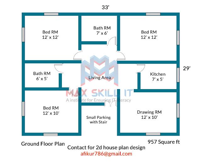 3bhk simple house plan design