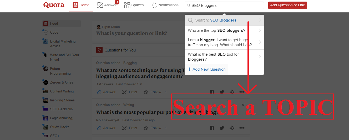 Search for brand's topic