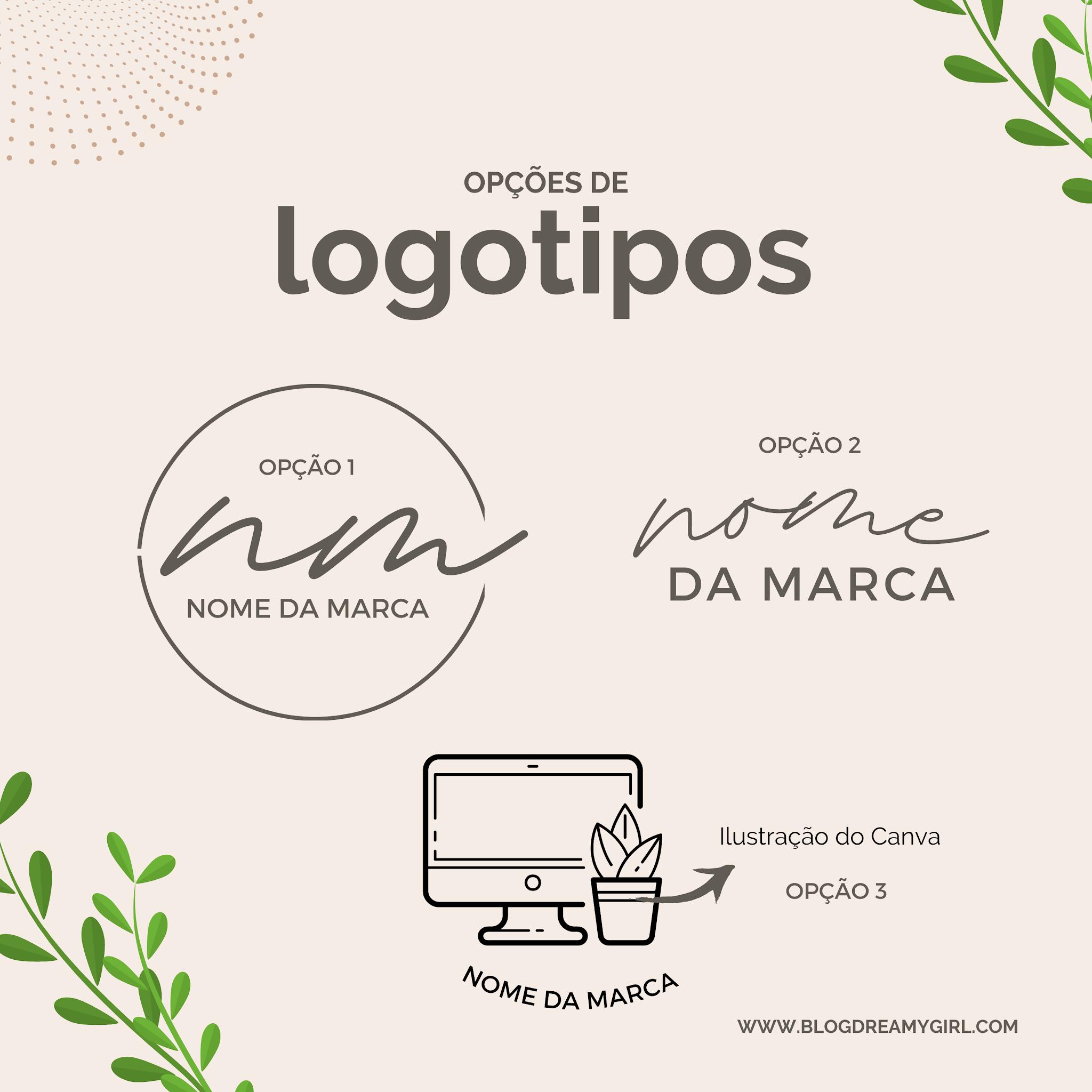 Opções de logotipos para a sua marca