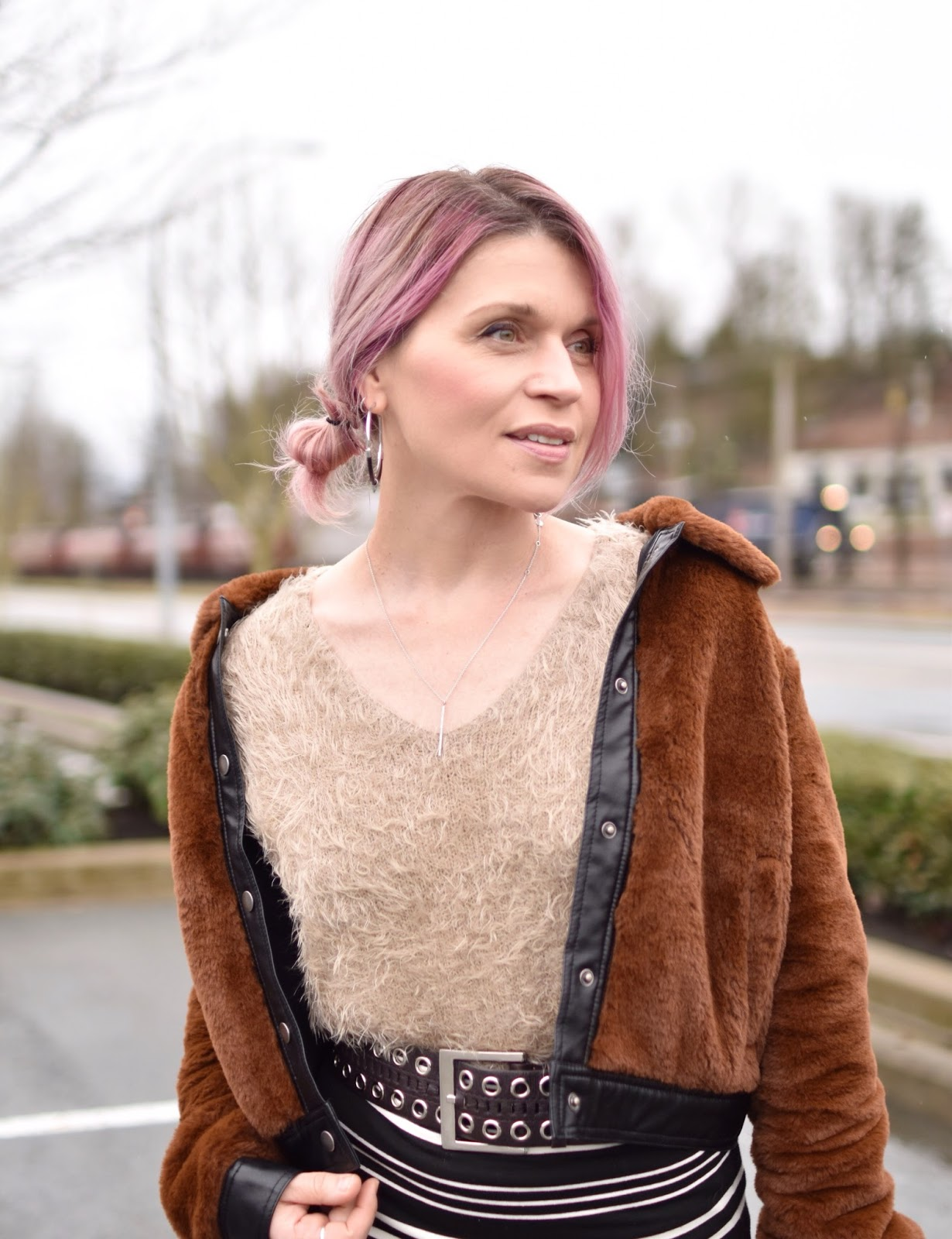 Monika Faulkner outfit inspiration - fuzzy sweater, teddybear bomber jacket, pink hair