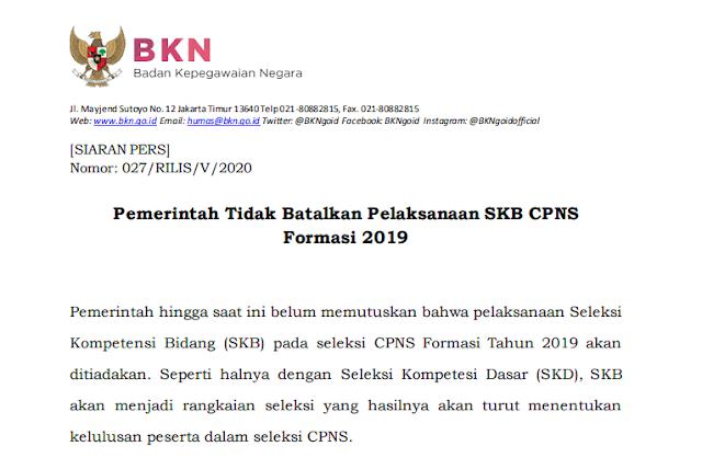 RESMI ! Pemerintah Tidak Batalkan Pelaksanaan SKB CPNS Formasi 2019