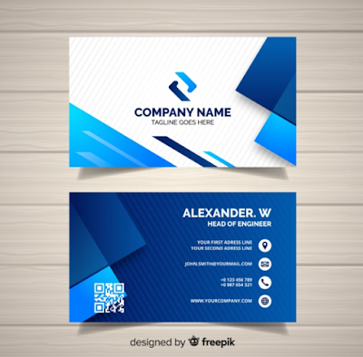 Contoh Kartu Nama - Business Card Template With Geometric Shapes