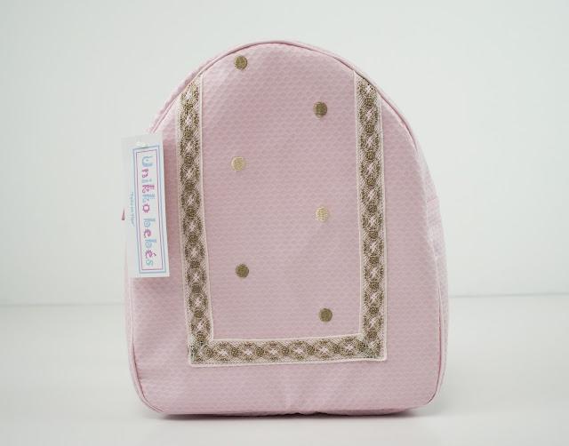 mochila bordada rosa puntilla camel