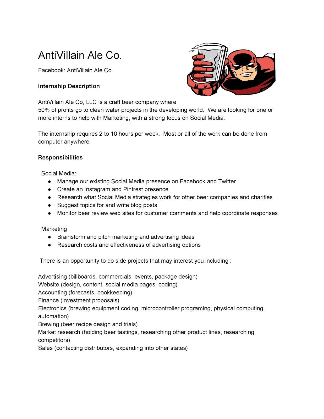 Antivillain Ale Co - Marketing Internship