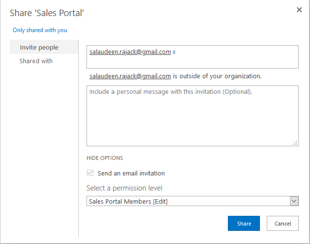 sharepoint online add external user to group