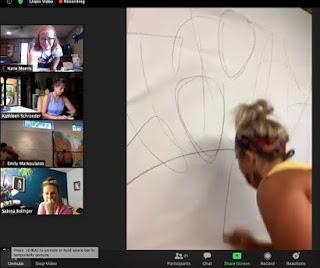 a screenshot of Avery Kasper teaching the workshop via zoom