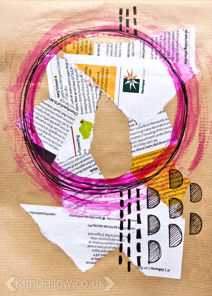 Kraft Paper art journal pages, Abstract 1 by Kim Dellow