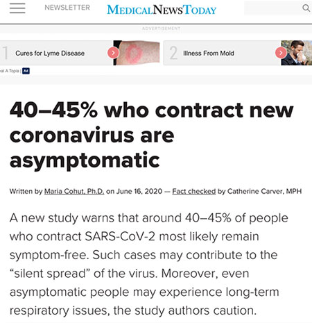 Getting better estimates of asymptomatic spreaders is key (Source: MedicalNewsToday)