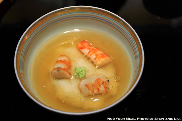 Shrimp, Turnip, Wasabi, and Ginkgo in Warm Dashi Jelly at Kien in Tokyo, Japan