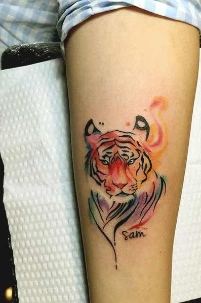 Colorful Tiger Tattoo on Sleeve