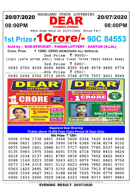 Nagaland State Lottery Sambad 20-07-2020 Today Result 8 PM