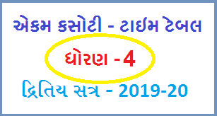STD-4 EKAM KASOTI TIMETABLE 2019-20