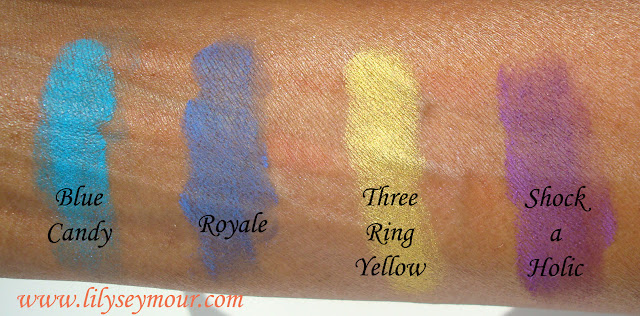 Mac Blue Candy, Royale, Three Ring Yellow, Shock-a-Holic Eyeshadows