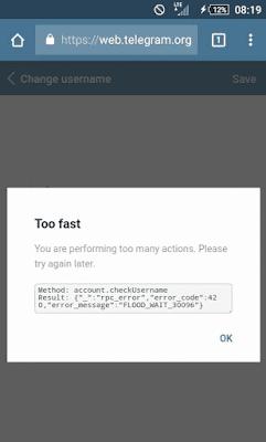 tidak bisa mengganti username telegram
