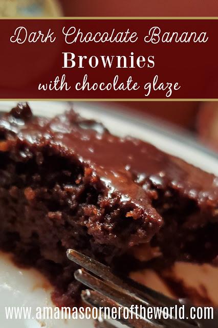 Pinnable image for dark chocolate banana brownies with chocolate glaze