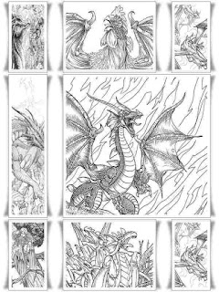 7 dragon fantasy coloring pages for adult