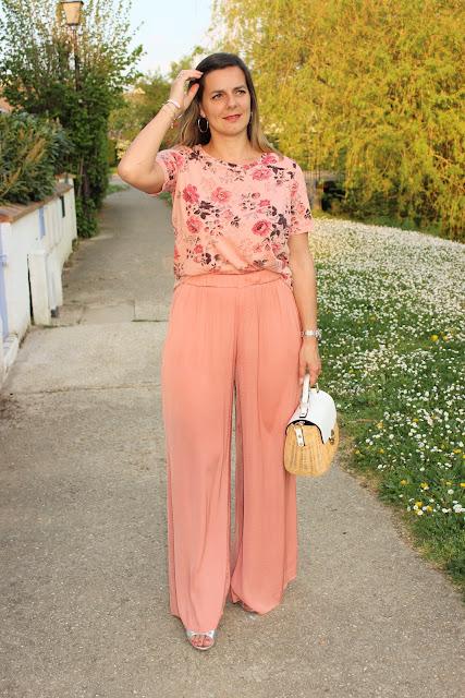 look rose, tee shirt Maje, tenue confortable, les petites bulles de ma vie