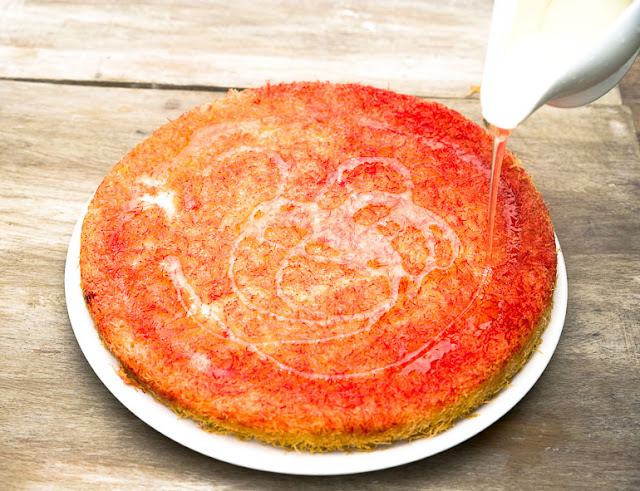 drizzle sugar syrup all over the knafeh