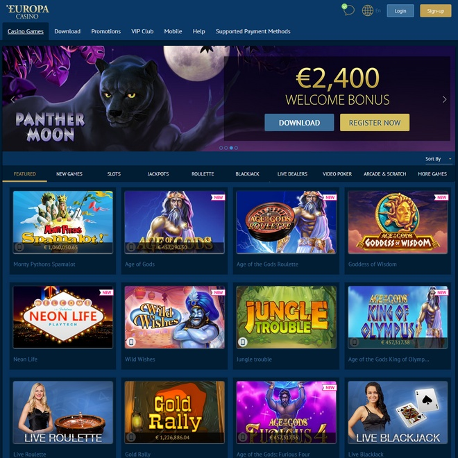 Europa Casino Screen