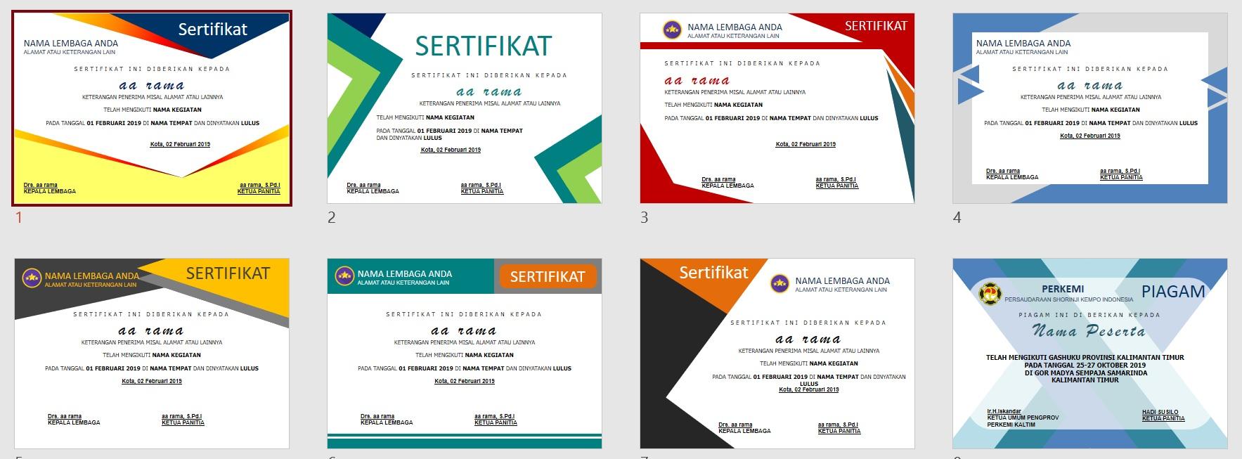 Download 50 Template Sertifikat atau Piagam Penghargaan Dalam Bentuk Powerpoint