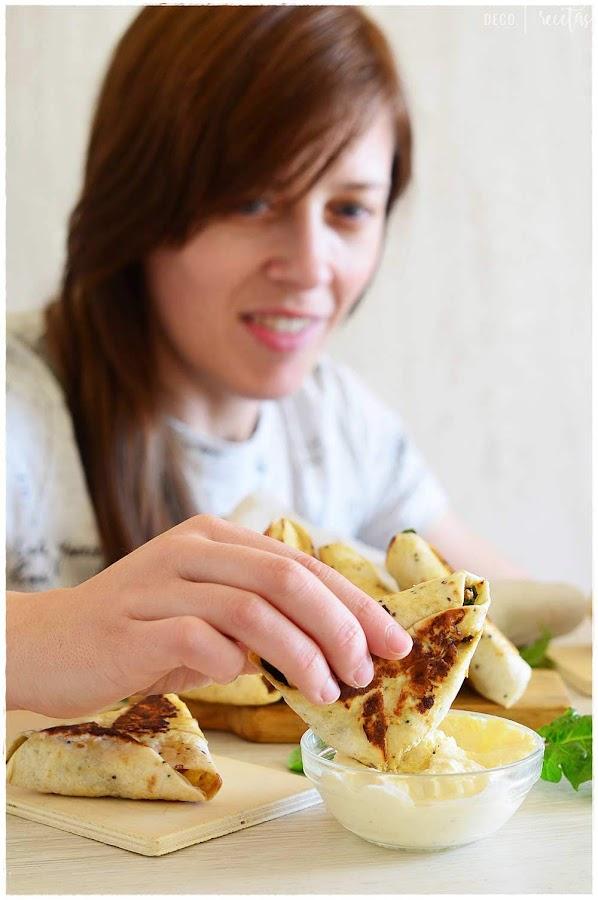samosas de pollo tikka- Samosas de pollo y verduras- Samosas con tortita de trigo- Samosa rellena de pollo